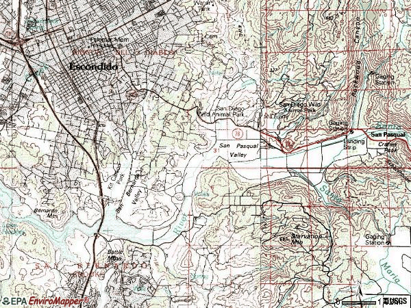 Zip code 92025 topographic map