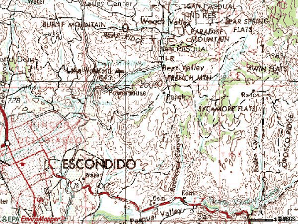 Zip code 92027 topographic map