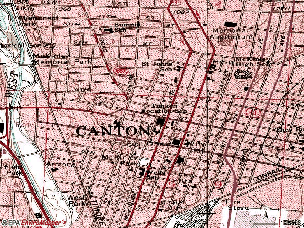 Zip code 44702 topographic map