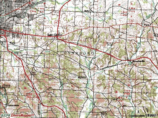 Zip code 44730 topographic map
