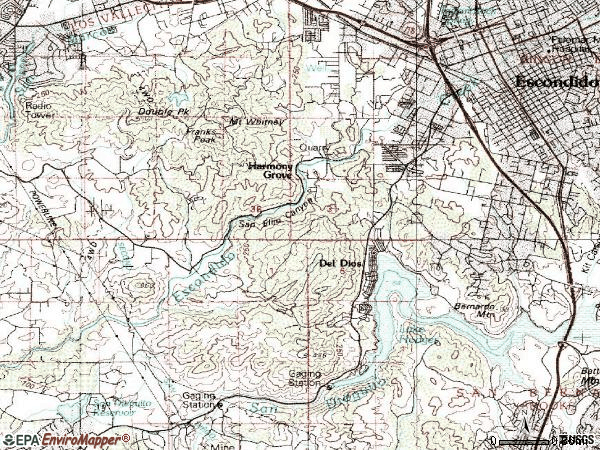Zip code 92029 topographic map