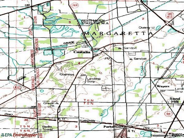 Zip code 44824 topographic map