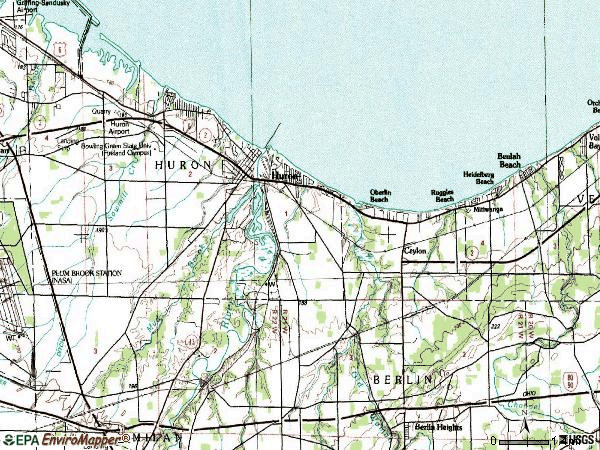 Zip code 44839 topographic map