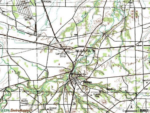 Zip code 44846 topographic map