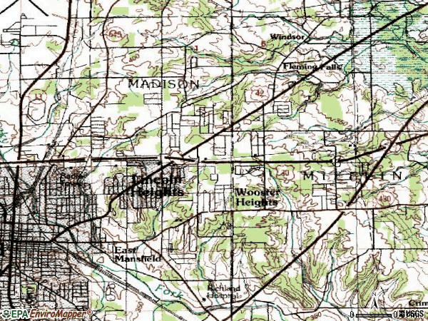 Zip code 44905 topographic map