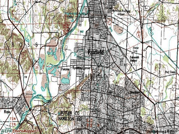Zip code 45014 topographic map