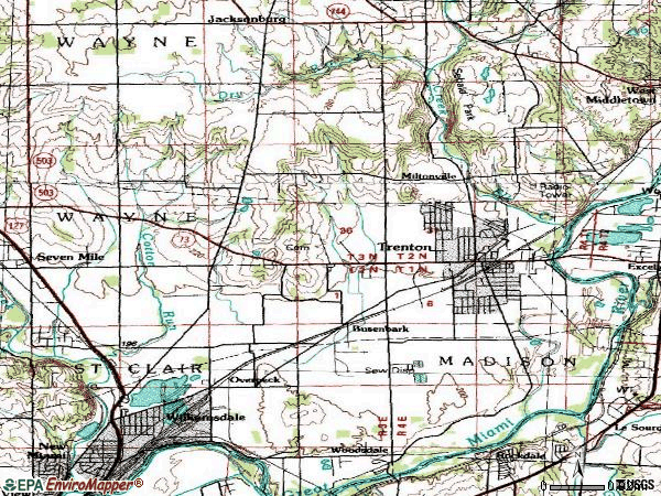 Zip code 45067 topographic map