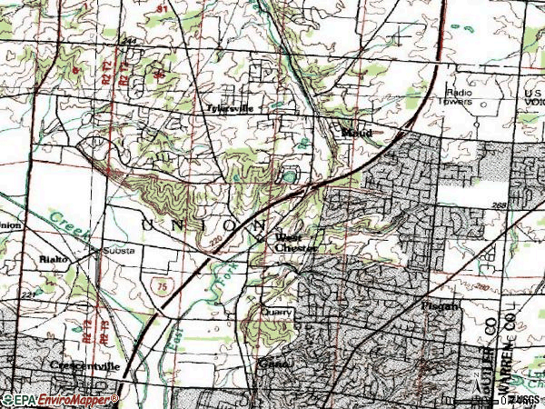 Zip code 45069 topographic map