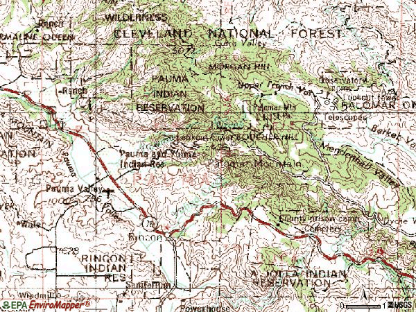 Zip code 92061 topographic map