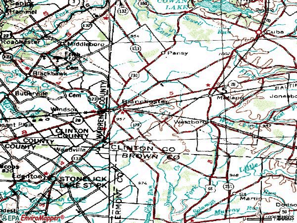 Zip code 45107 topographic map