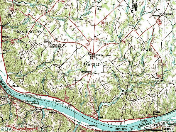 Zip code 45120 topographic map