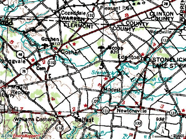 Zip code 45122 topographic map