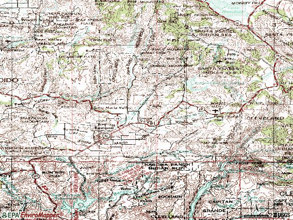 Zip code 92065 topographic map