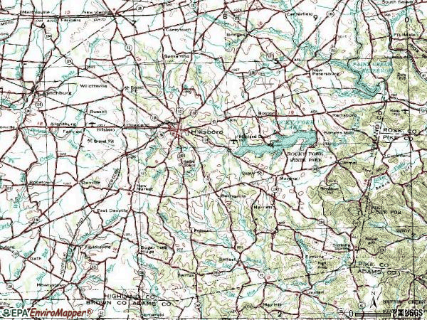 Zip code 45133 topographic map