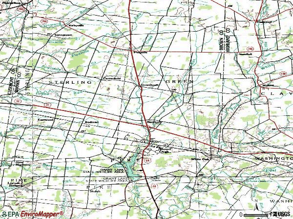 Zip code 45154 topographic map