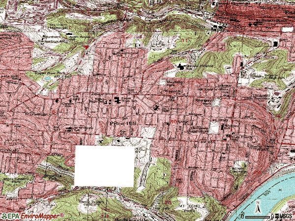Zip code 45205 topographic map