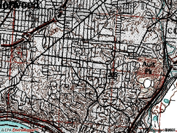 Zip code 45208 topographic map