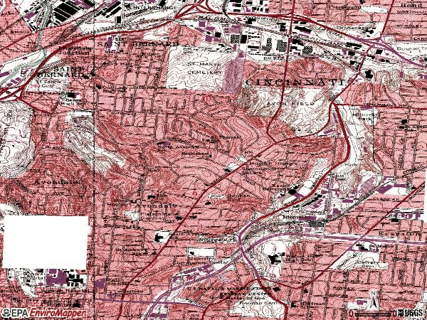 Zip code 45229 topographic map