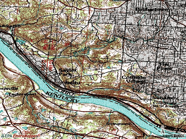 Zip code 45233 topographic map