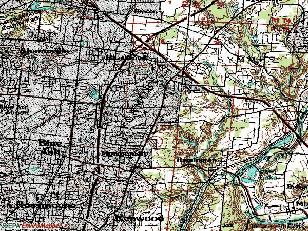 Zip code 45242 topographic map