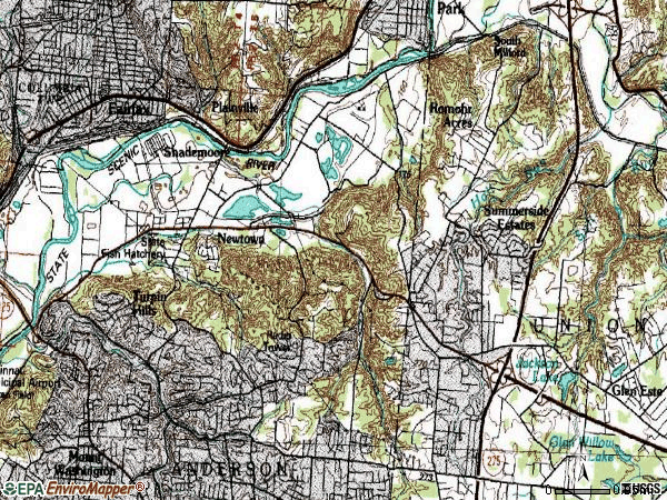 Zip code 45244 topographic map