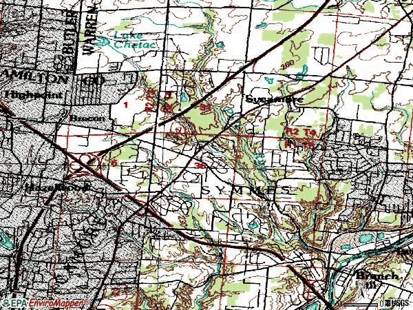 Zip code 45249 topographic map