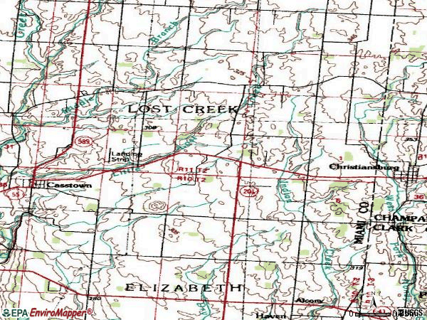 Zip code 45312 topographic map