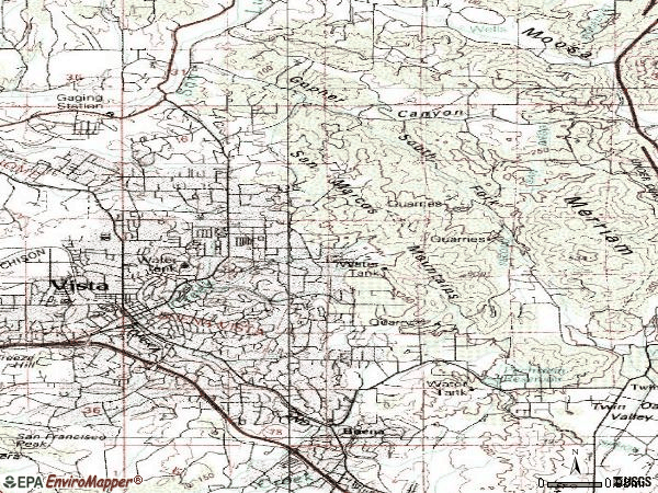 Zip code 92084 topographic map