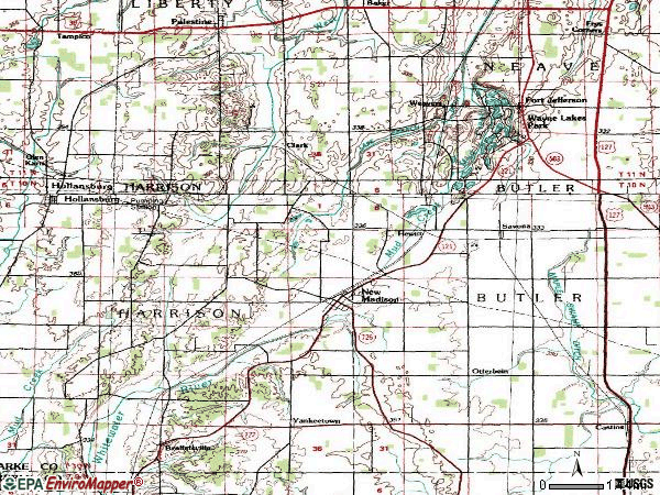 Zip code 45346 topographic map