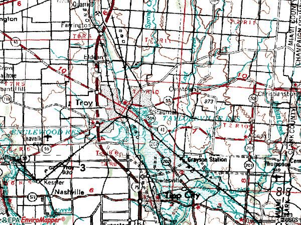 Zip code 45373 topographic map