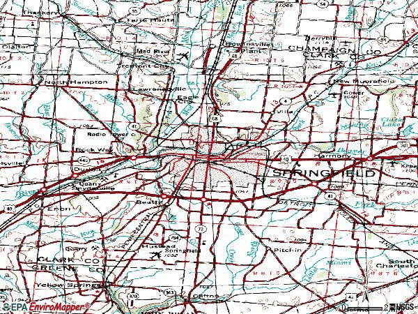 Zip code 45502 topographic map