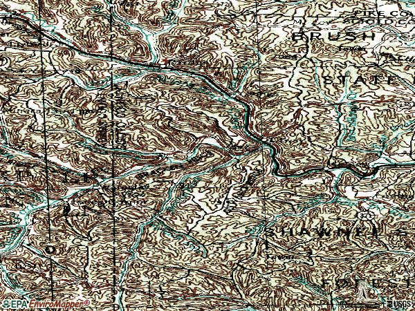 Zip code 45657 topographic map
