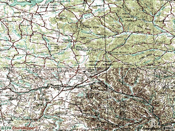 Zip code 45660 topographic map