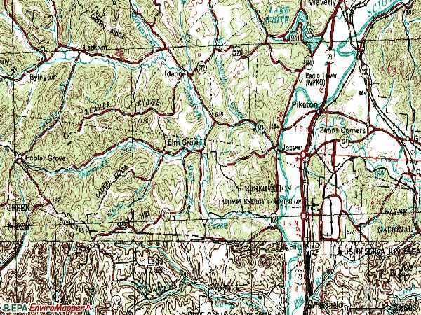 Zip code 45661 topographic map