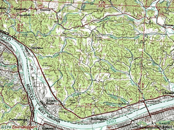 Zip code 45680 topographic map