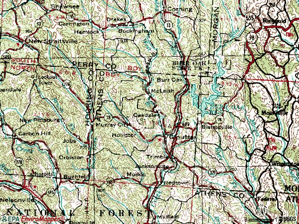 Zip code 45732 topographic map