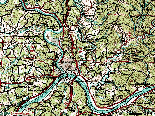 Zip code 45750 topographic map