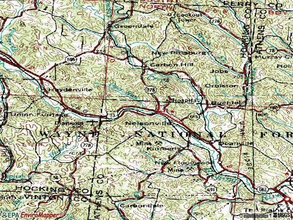 Zip code 45764 topographic map