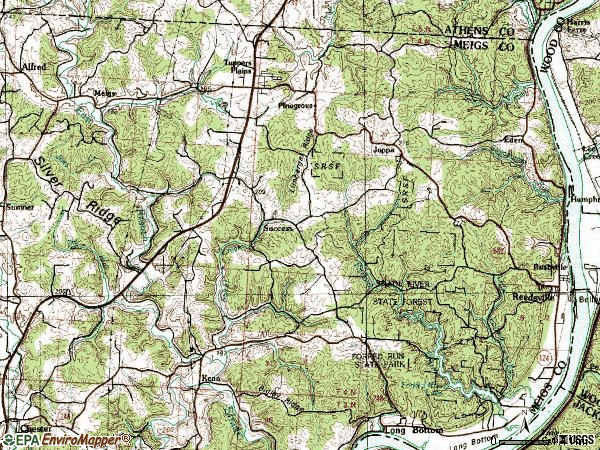 Zip code 45772 topographic map