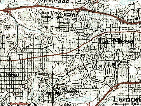 Zip code 92115 topographic map