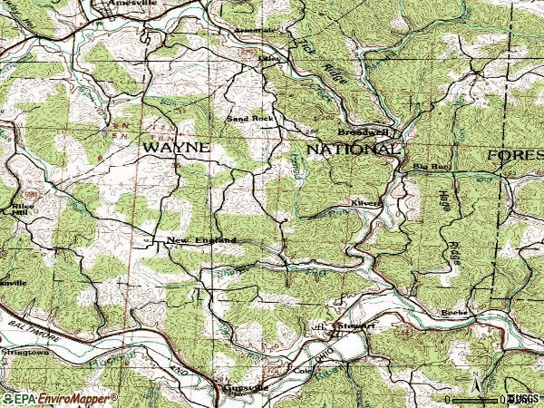 Zip code 45778 topographic map