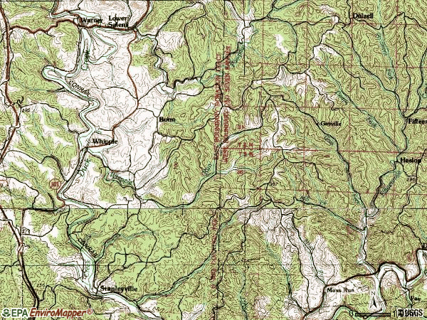 Zip code 45788 topographic map