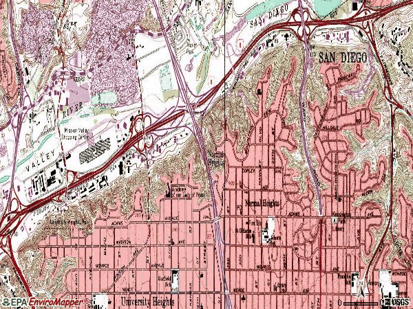 Zip code 92116 topographic map