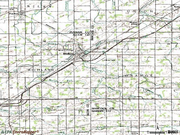 Zip code 45817 topographic map