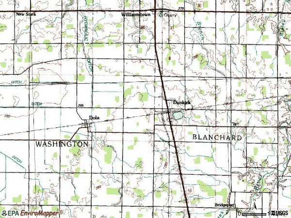 Zip code 45836 topographic map