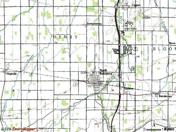 Zip code 45872 topographic map