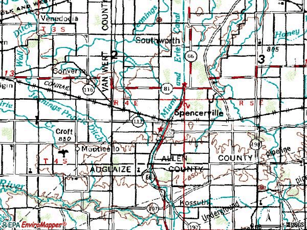 Zip code 45887 topographic map