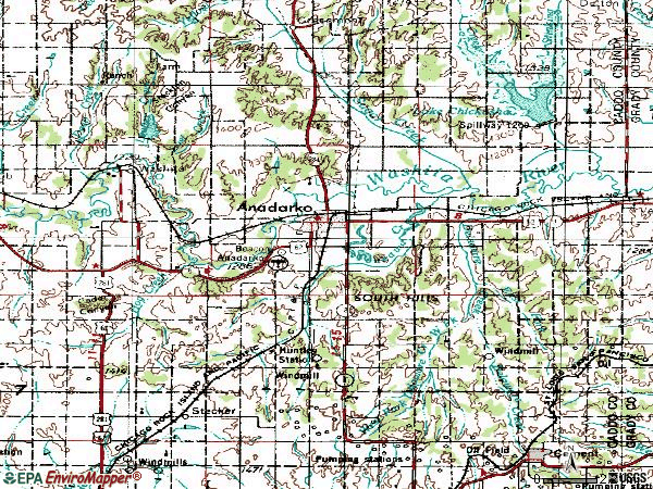 Zip code 73005 topographic map