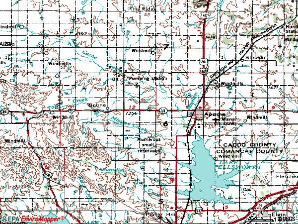 Zip code 73006 topographic map
