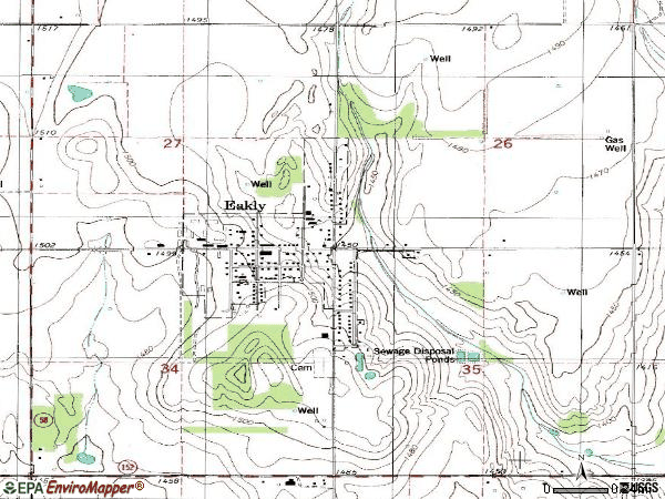 Zip code 73033 topographic map